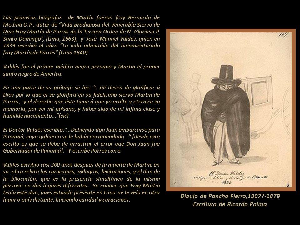 Dibujo de Pancho Fierro,1807 -1879 Escritura de Ricardo Palma