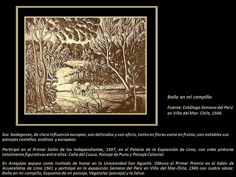 Baño en mi campiña Fuente: Catálogo Semana del Perú en Viña del Mar- Chile, 1946.