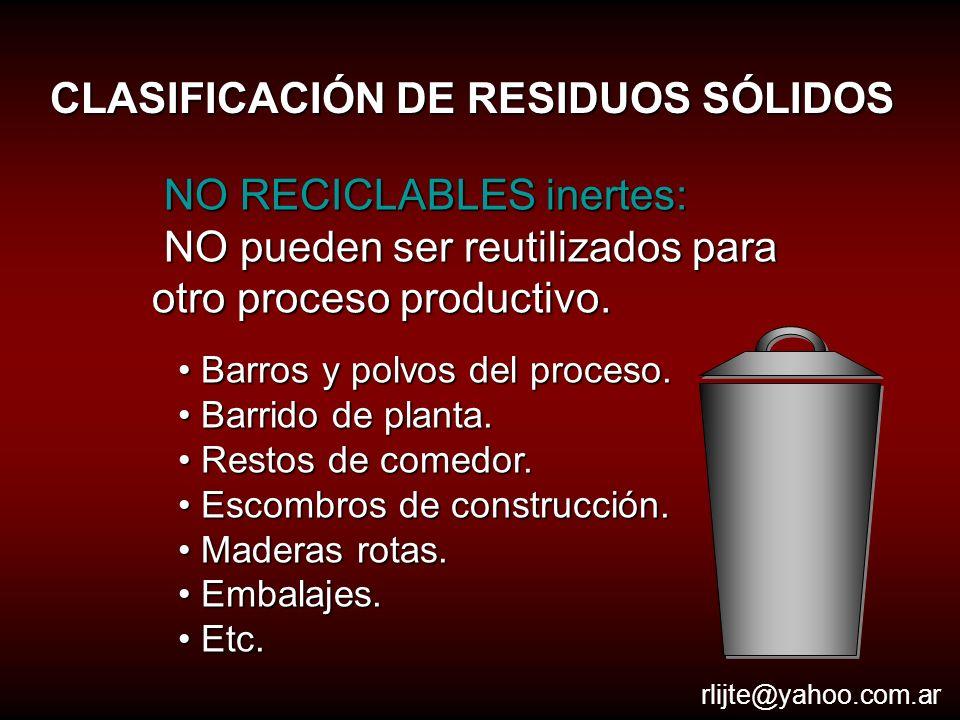 CLASIFICACIÓN DE RESIDUOS SÓLIDOS