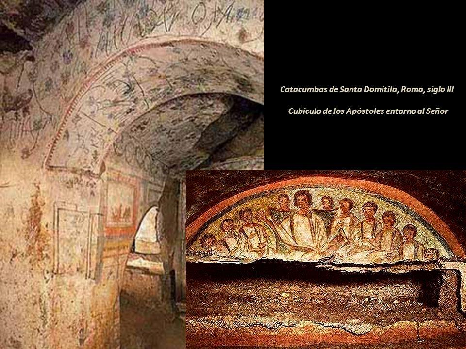 Catacumbas de Santa Domitila, Roma, siglo III Cubículo de los Apóstoles entorno al Señor