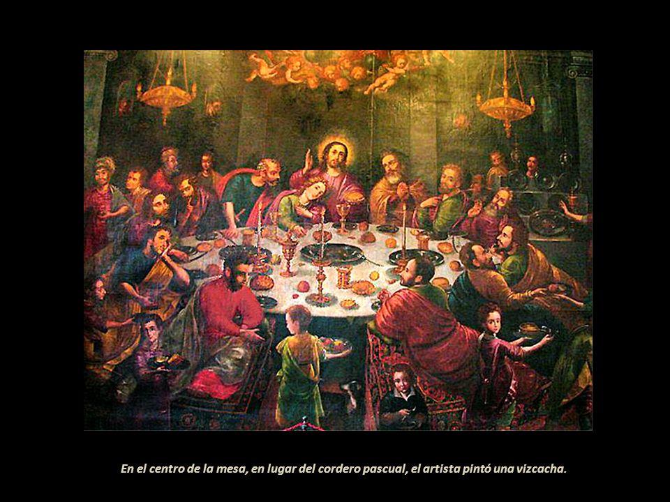 Pintura en el refectorio (comedor) del Convento de San Francisco de Lima, representa la Cena Judía (Seder de Pésáj) típica cena familiar celebrando el Éxodo, figuran 32 personas entre niños y adultos. . La pintura inicialmente fue asignada al sacerdote y pintor Diego de la Puente (Malinas 1586-Lima 1663). Ingresó a la Compañía de Jesús en 1605, llegó a los Reyes entre 1619 y 1620. Pintó para las diferentes casas de la Orden a la que pertenecía y para otras comunidades religiosas. La Última Cena, del refectorio del Convento de San Francisco de Lima, siempre estuvo adjudicada a este artista. Al ser restaurada, en el siglo XX, se encontró la fecha 1698; algunos restauradores o retocadores acostumbraban colocar el año de la reparación. De la Puente había fallecido en Lima en 1663. . Pintó para el Cusco una importante Última Cena, de 5 mt por 2.70, está en la Iglesia de San Francisco de esa ciudad. De este tema hizo varias versiones, la de Santiago de Chile registrada en 1656, actualmente está en el Museo de la Catedral de Santiago. . Permaneció durante 43 años en el Virreinato del Perú. A raíz de su fallecimiento, el 12 de diciembre en la Ciudad de los Reyes, se escribió ... Fué éste el principal y más continuo empleo que le díó la obediencia... Llenó la Provincia de varias y devotísimas pinturas de valiente pincel, en especial los Colegios de Trujillo, Chuquiabo y Juli. Y aun pasó al Reino de Chile donde dejó perpetuado su nombre... . (sic). . -
