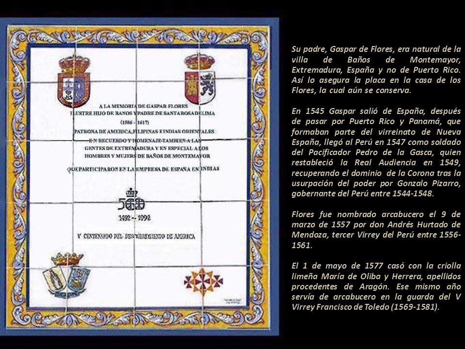 Su padre, Gaspar de Flores, era natural de la villa de Baños de Montemayor, Extremadura, España y no de Puerto Rico.