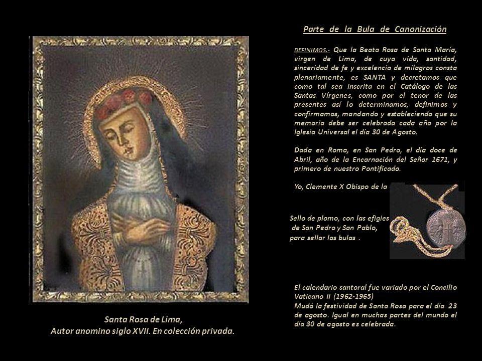 Santa Rosa de Lima, Autor anomino siglo XVII. En colección privada.