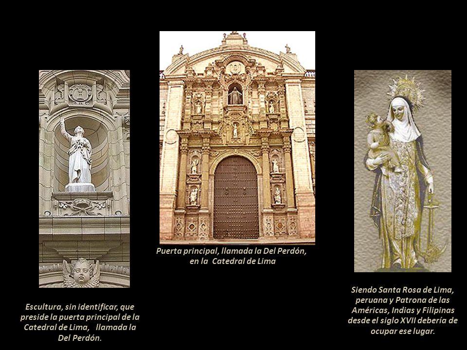 Puerta principal, llamada la Del Perdón, en la Catedral de Lima
