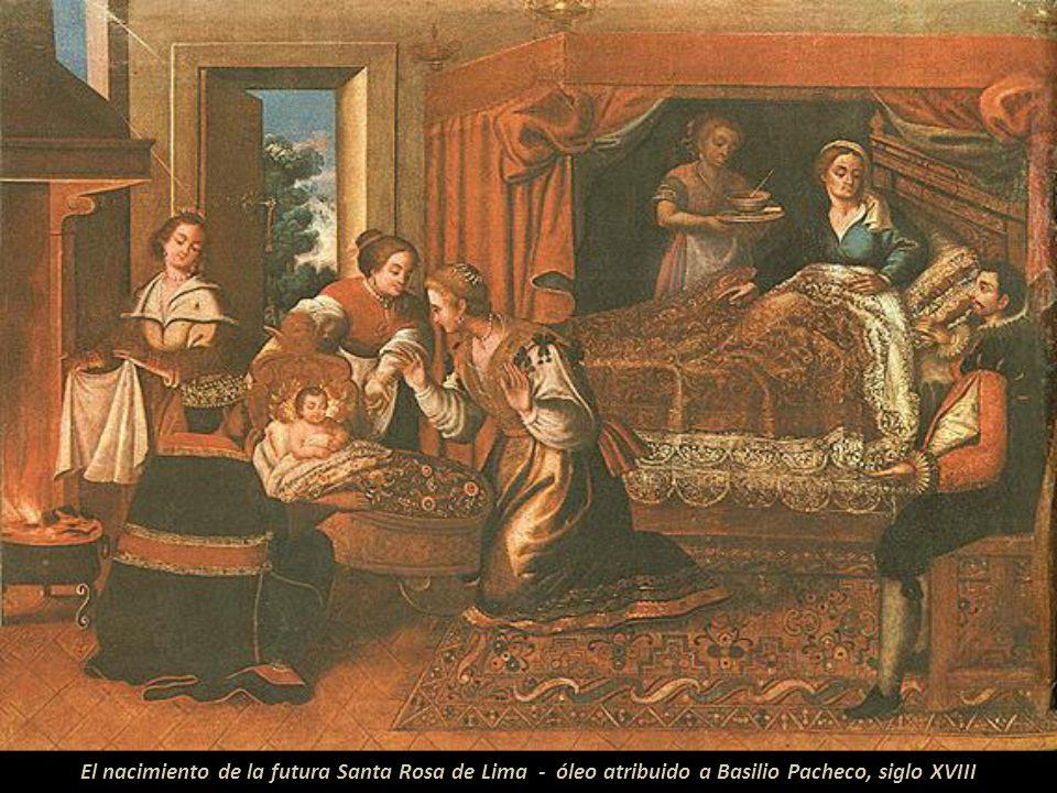 El nacimiento de la futura Santa Rosa de Lima - óleo atribuido a Basilio Pacheco, siglo XVIII