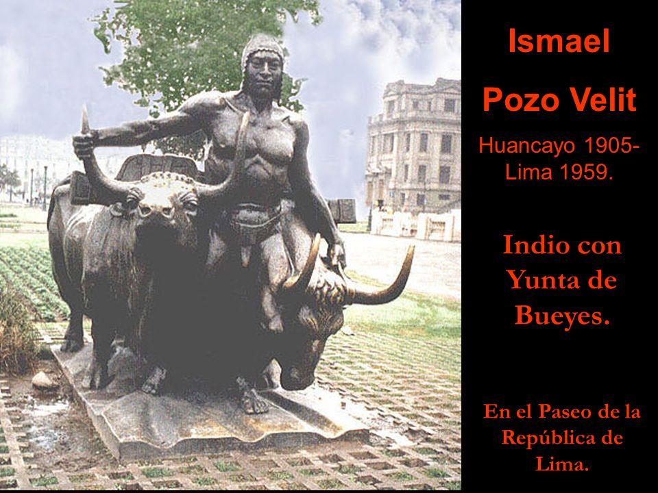 Indio con Yunta de Bueyes. En el Paseo de la República de Lima.