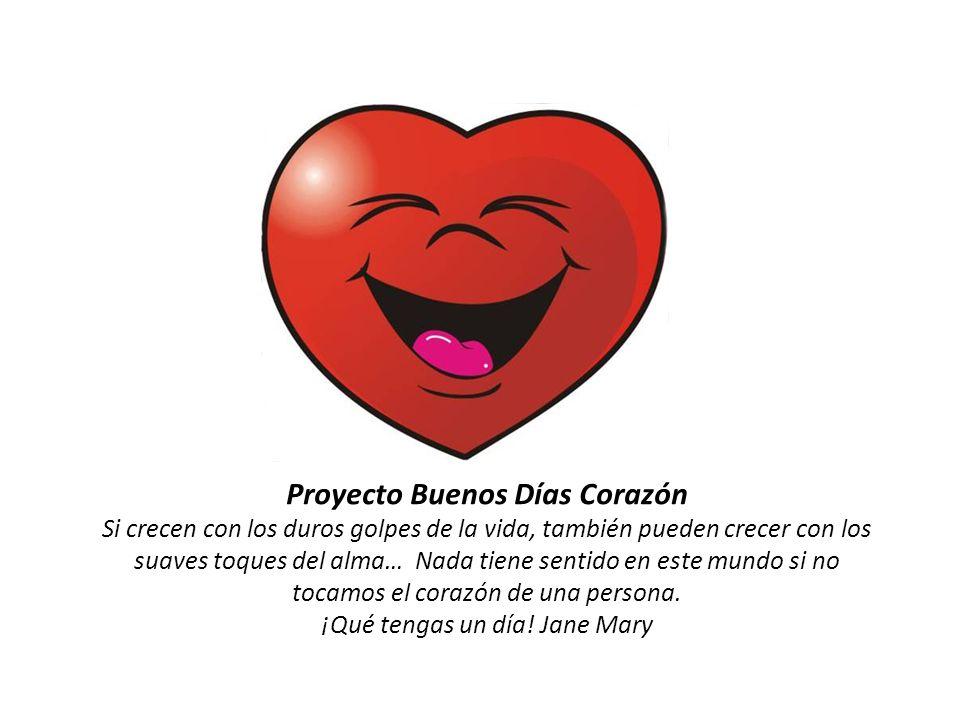 Proyecto Buenos Días Corazón Si crecen con los duros golpes de la vida, también pueden crecer con los suaves toques del alma… Nada tiene sentido en este mundo si no tocamos el corazón de una persona.