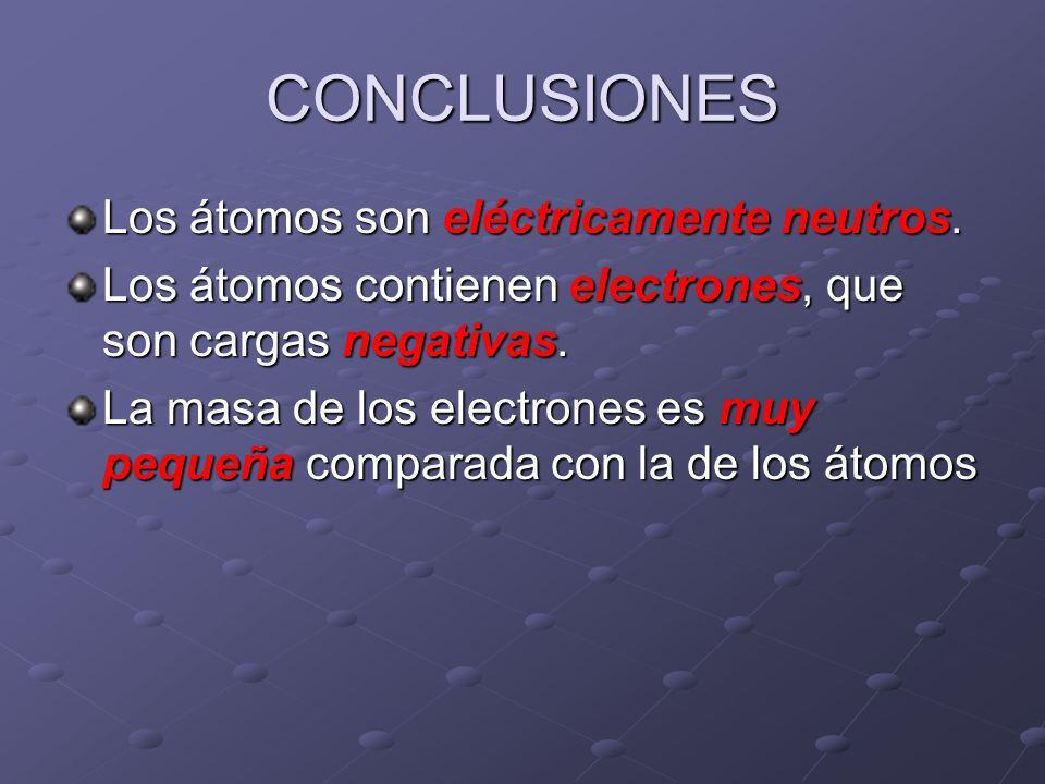 CONCLUSIONES Los átomos son eléctricamente neutros.
