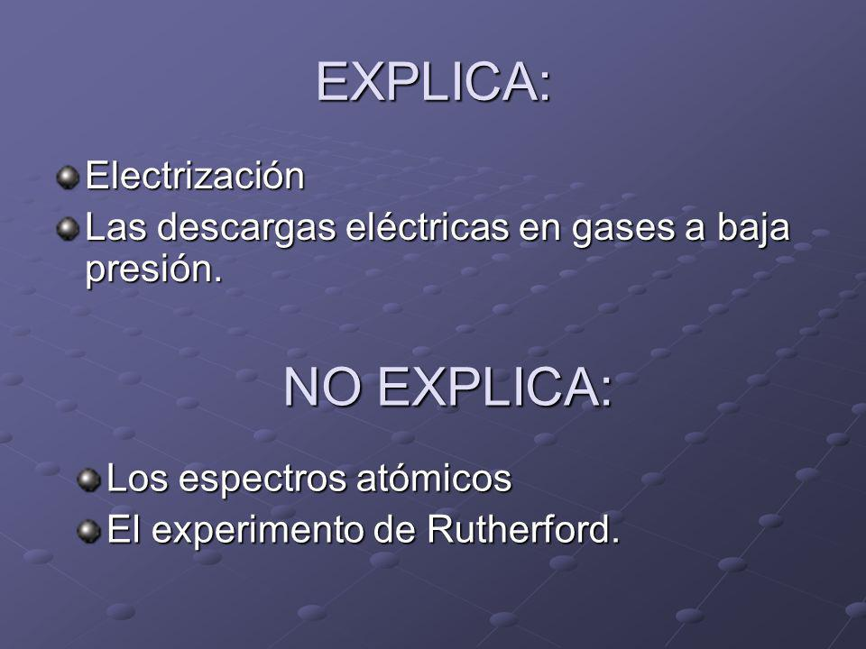 EXPLICA: NO EXPLICA: Electrización