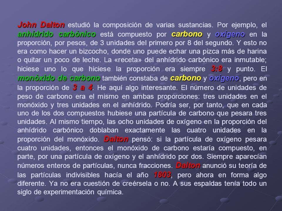 John Dalton estudió la composición de varias sustancias