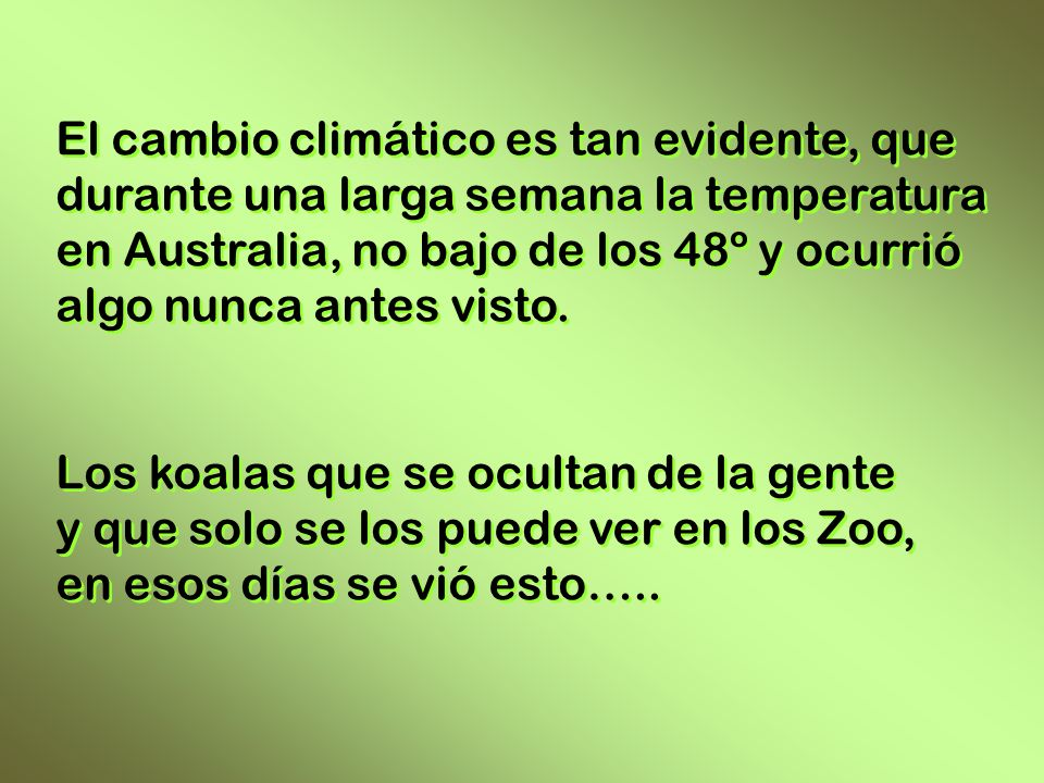 El cambio climático es tan evidente, que durante una larga semana la temperatura