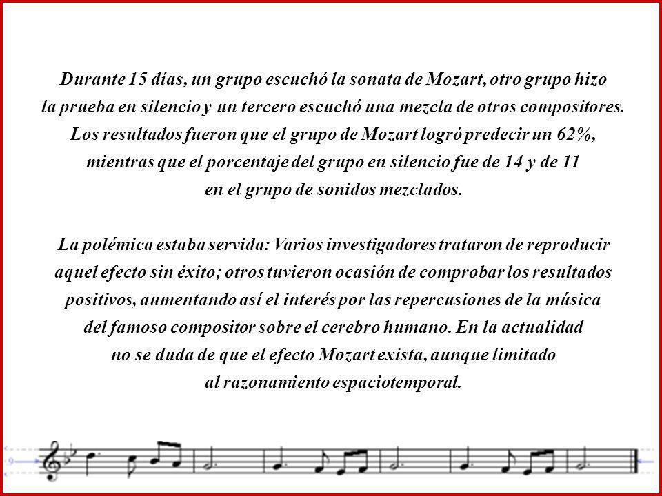 Durante 15 días, un grupo escuchó la sonata de Mozart, otro grupo hizo la prueba en silencio y un tercero escuchó una mezcla de otros compositores. Los resultados fueron que el grupo de Mozart logró predecir un 62%, mientras que el porcentaje del grupo en silencio fue de 14 y de 11 en el grupo de sonidos mezclados.