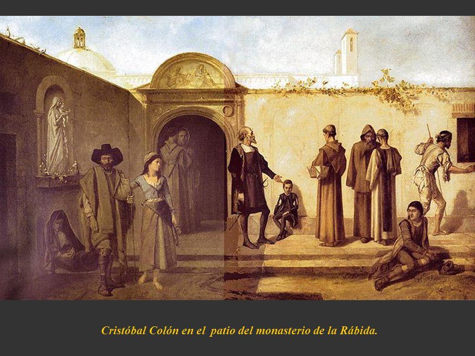 Cristóbal Colón en el patio del monasterio de la Rábida.