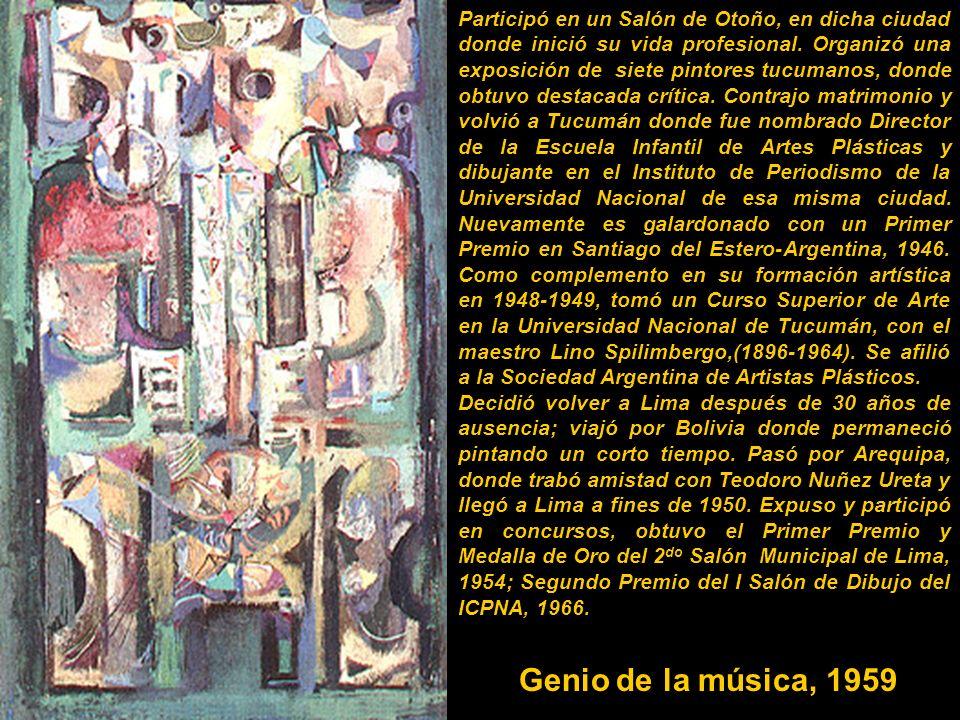 Participó en un Salón de Otoño, en dicha ciudad donde inició su vida profesional. Organizó una exposición de siete pintores tucumanos, donde obtuvo destacada crítica. Contrajo matrimonio y volvió a Tucumán donde fue nombrado Director de la Escuela Infantil de Artes Plásticas y dibujante en el Instituto de Periodismo de la Universidad Nacional de esa misma ciudad. Nuevamente es galardonado con un Primer Premio en Santiago del Estero-Argentina, 1946. Como complemento en su formación artística en 1948-1949, tomó un Curso Superior de Arte en la Universidad Nacional de Tucumán, con el maestro Lino Spilimbergo,(1896-1964). Se afilió a la Sociedad Argentina de Artistas Plásticos.