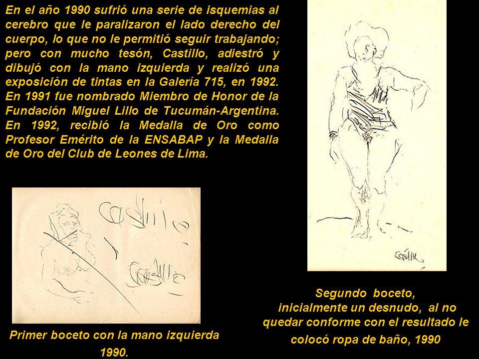Primer boceto con la mano izquierda 1990.