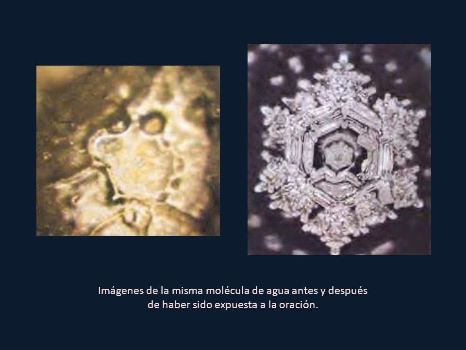 Imágenes de la misma molécula de agua antes y después