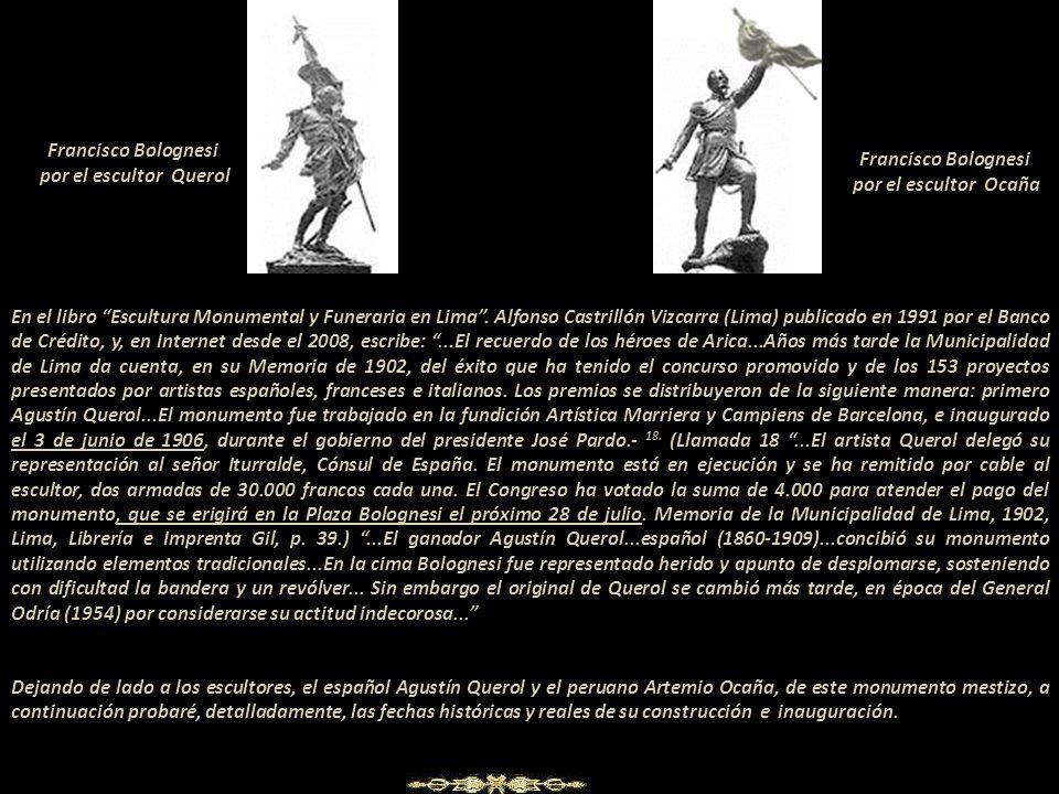 Francisco Bolognesi por el escultor Querol. Francisco Bolognesi. por el escultor Ocaña.
