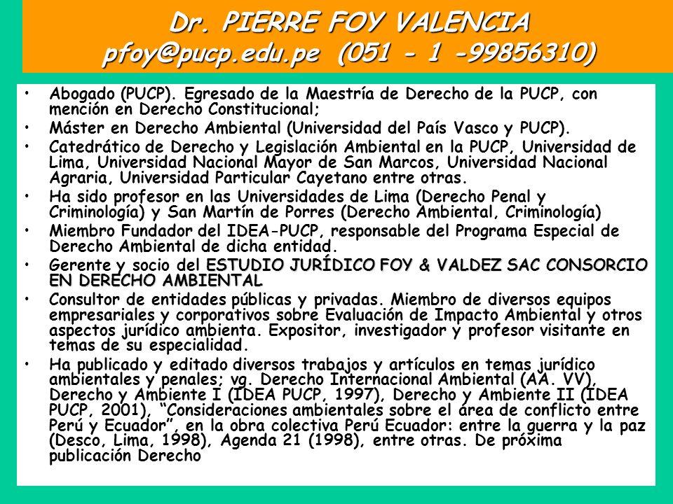 Dr. PIERRE FOY VALENCIA pfoy@pucp.edu.pe (051 - 1 -99856310)