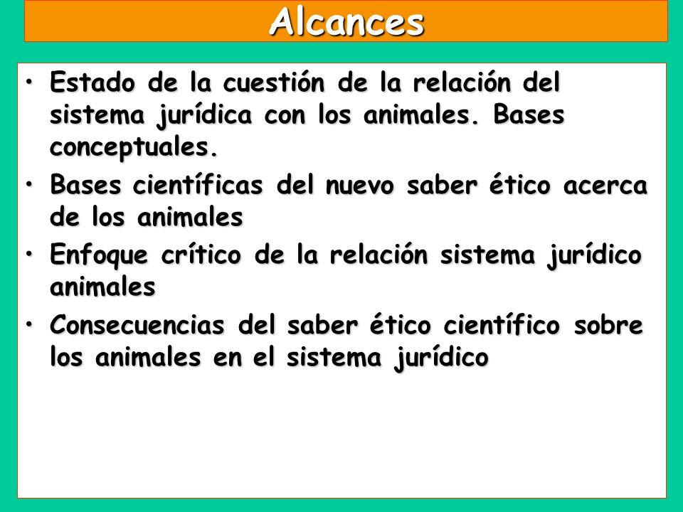Alcances Estado de la cuestión de la relación del sistema jurídica con los animales. Bases conceptuales.