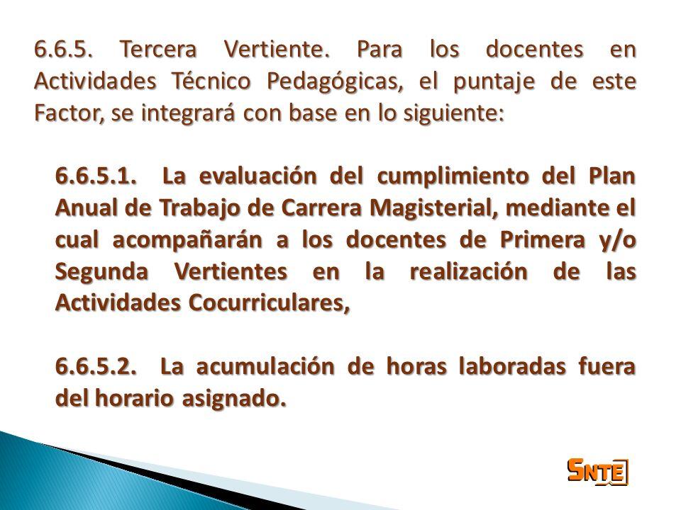 6.6.5. Tercera Vertiente. Para los docentes en Actividades Técnico Pedagógicas, el puntaje de este Factor, se integrará con base en lo siguiente: