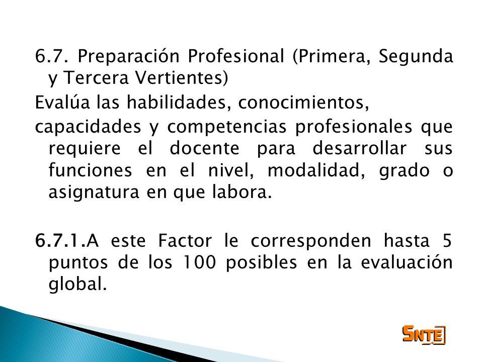 6.7. Preparación Profesional (Primera, Segunda y Tercera Vertientes)