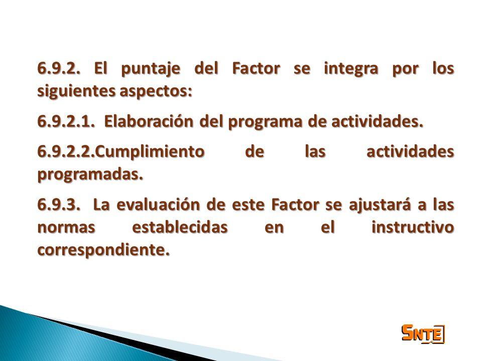 6.9.2. El puntaje del Factor se integra por los siguientes aspectos: