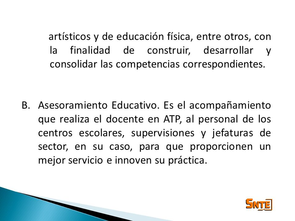 artísticos y de educación física, entre otros, con la finalidad de construir, desarrollar y consolidar las competencias correspondientes.