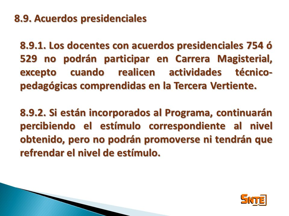 8.9. Acuerdos presidenciales