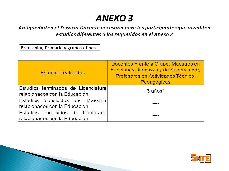 ANEXO 3 Antigüedad en el Servicio Docente necesaria para los participantes que acrediten estudios diferentes a los requeridos en el Anexo 2.