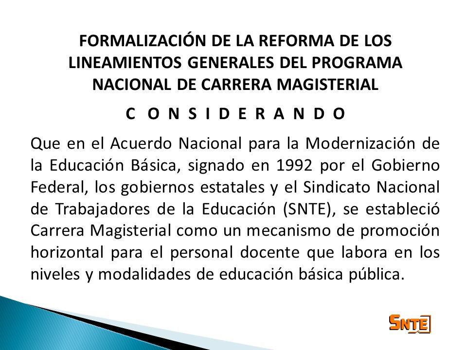LINEAMIENTOS GENERALES DEL PROGRAMA NACIONAL DE CARRERA MAGISTERIAL