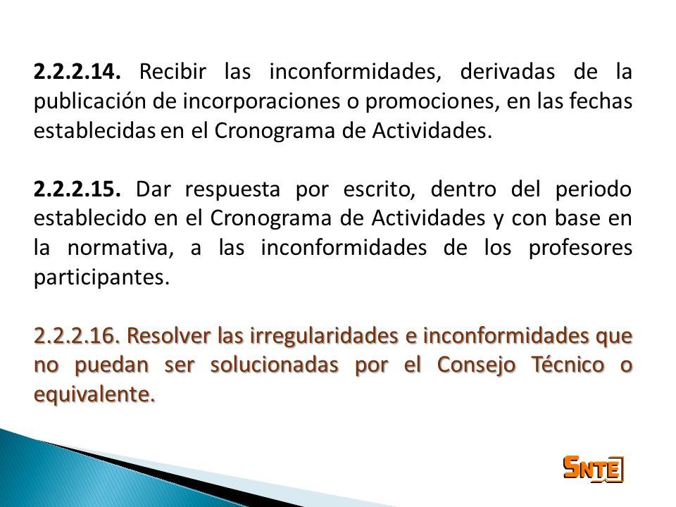 2.2.2.14. Recibir las inconformidades, derivadas de la publicación de incorporaciones o promociones, en las fechas establecidas en el Cronograma de Actividades.