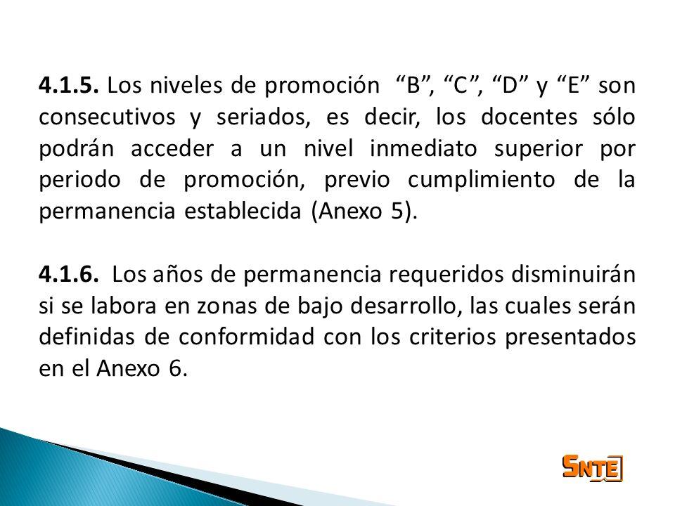 4.1.5. Los niveles de promoción B , C , D y E son consecutivos y seriados, es decir, los docentes sólo podrán acceder a un nivel inmediato superior por periodo de promoción, previo cumplimiento de la permanencia establecida (Anexo 5).