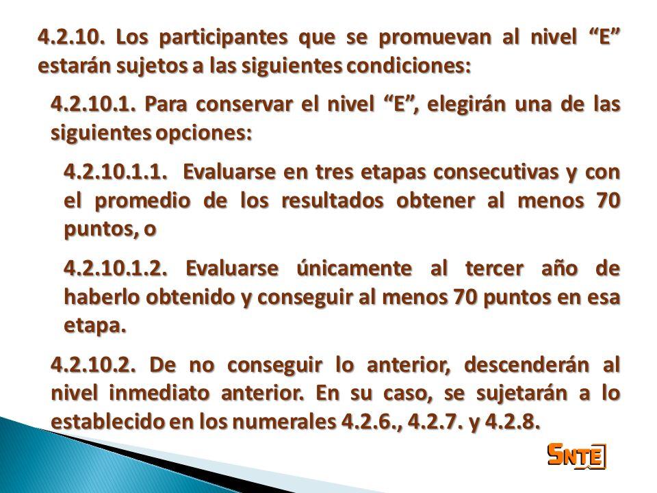 4.2.10. Los participantes que se promuevan al nivel E estarán sujetos a las siguientes condiciones: