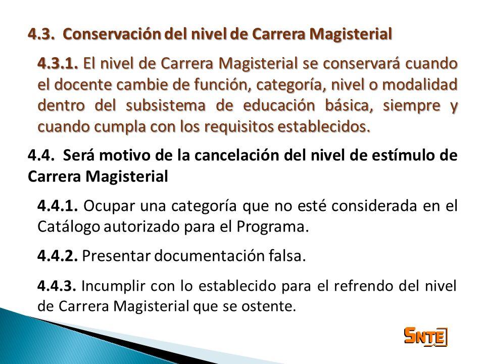 4.3. Conservación del nivel de Carrera Magisterial