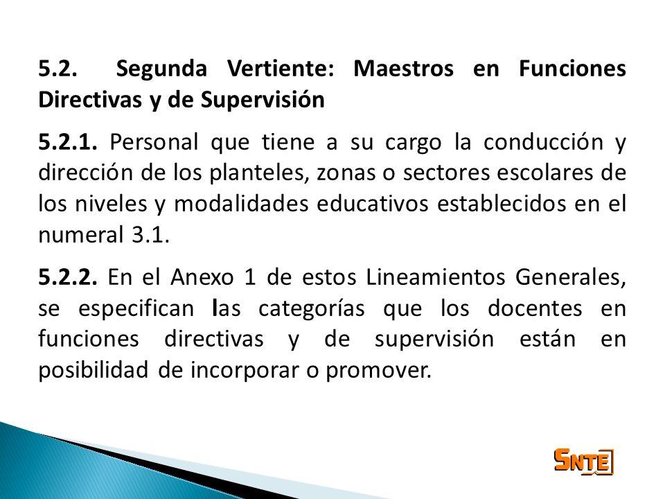 5.2. Segunda Vertiente: Maestros en Funciones Directivas y de Supervisión