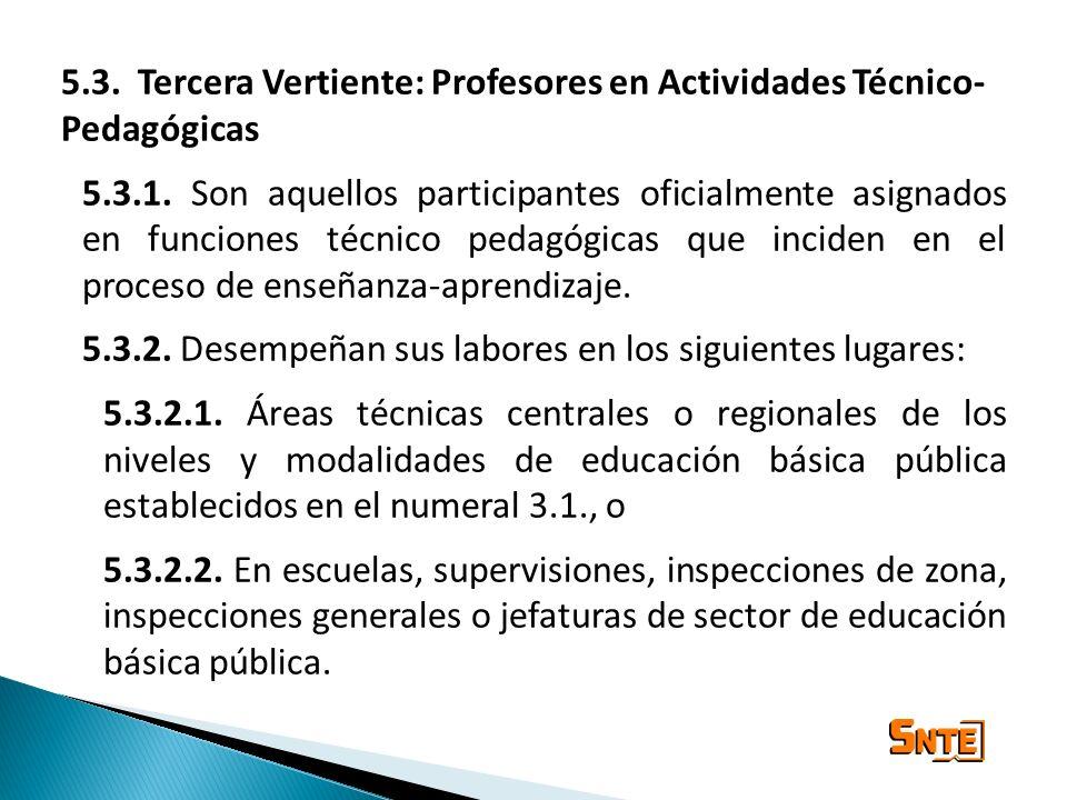 5.3. Tercera Vertiente: Profesores en Actividades Técnico-Pedagógicas