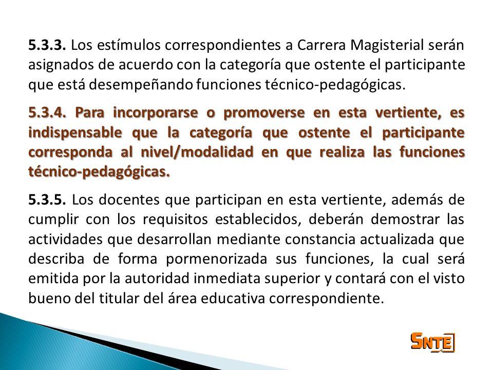 5.3.3. Los estímulos correspondientes a Carrera Magisterial serán asignados de acuerdo con la categoría que ostente el participante que está desempeñando funciones técnico-pedagógicas.