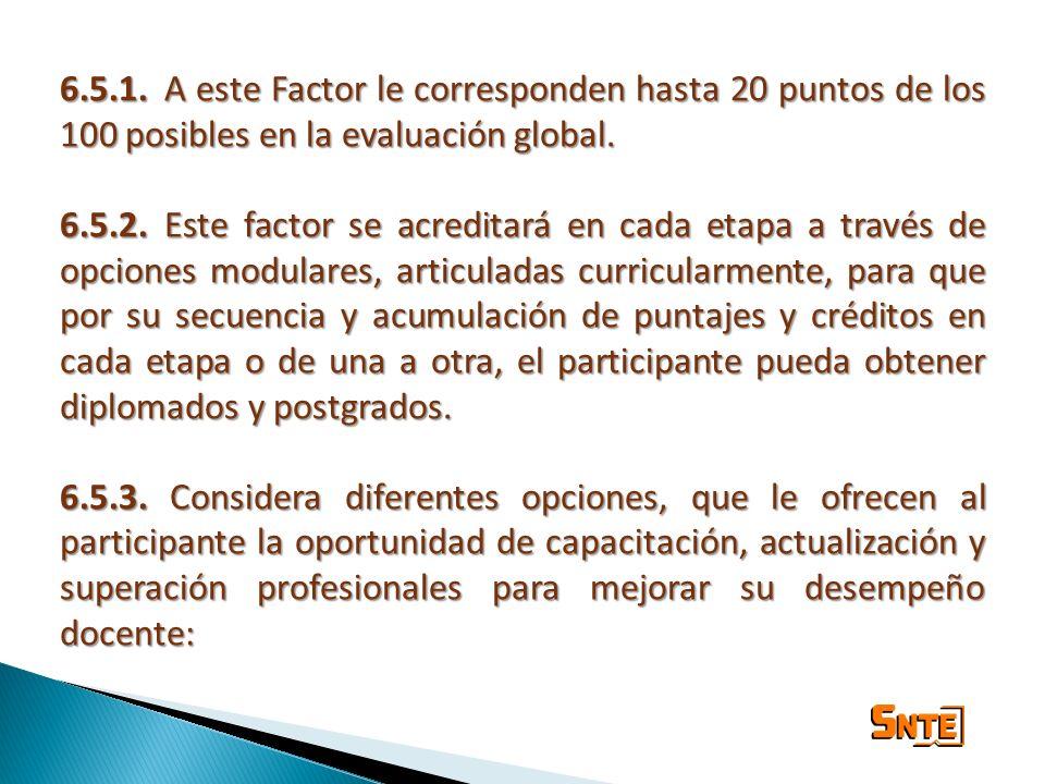 6.5.1. A este Factor le corresponden hasta 20 puntos de los 100 posibles en la evaluación global.
