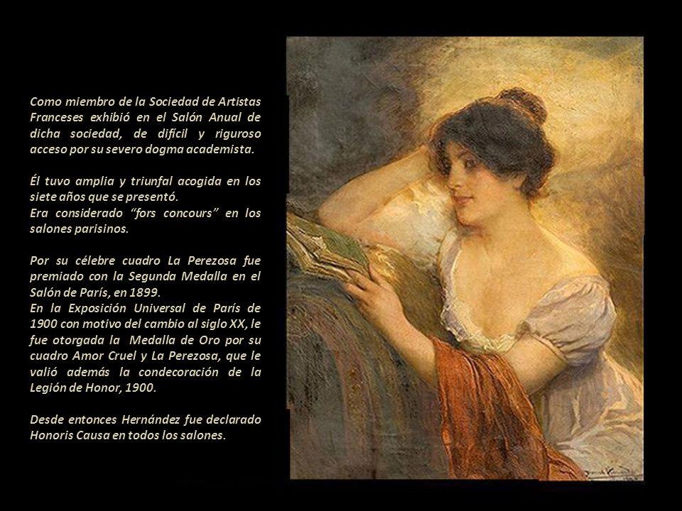 Como miembro de la Sociedad de Artistas Franceses exhibió en el Salón Anual de dicha sociedad, de difícil y riguroso acceso por su severo dogma academista.