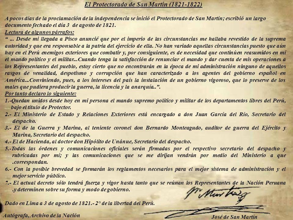 El Protectorado de San Martín (1821-1822)