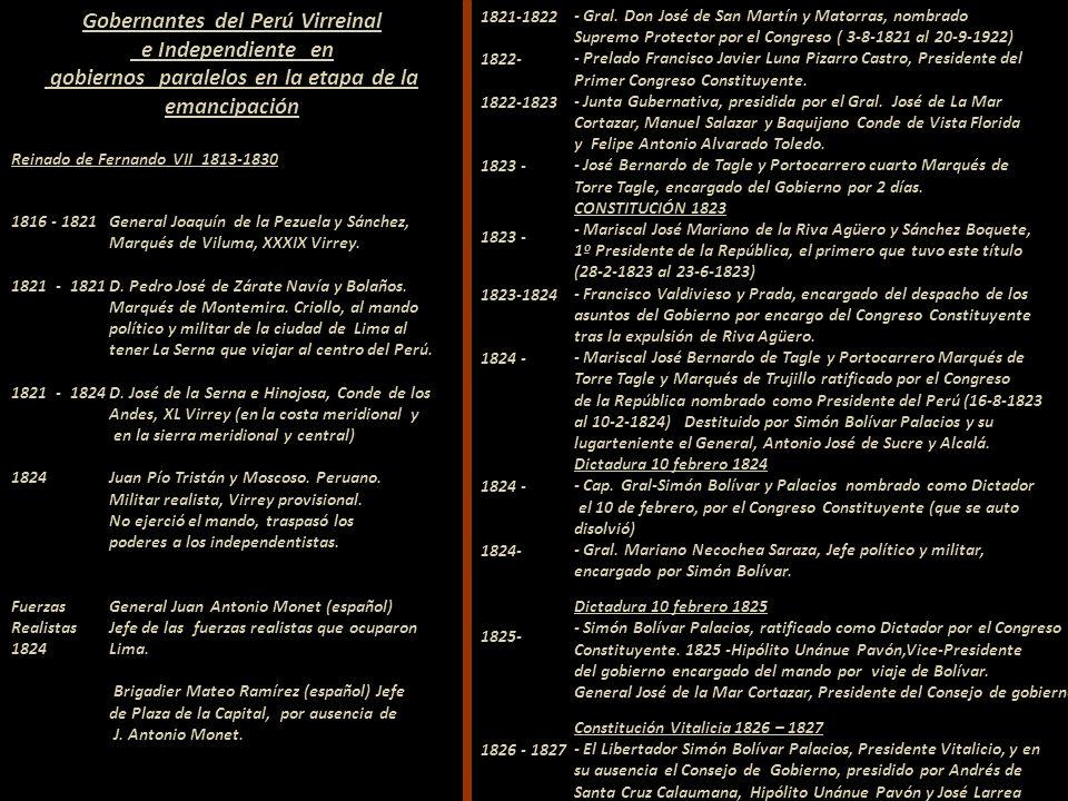 Gobernantes del Perú Virreinal e Independiente en