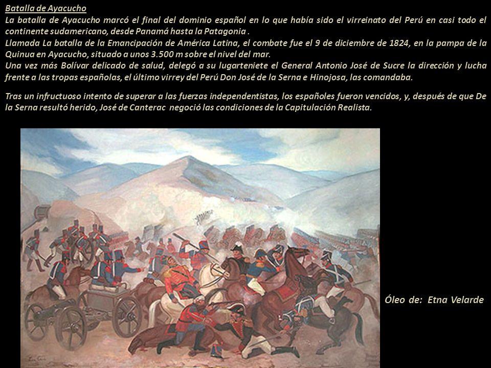 Óleo de: Etna Velarde Batalla de Ayacucho