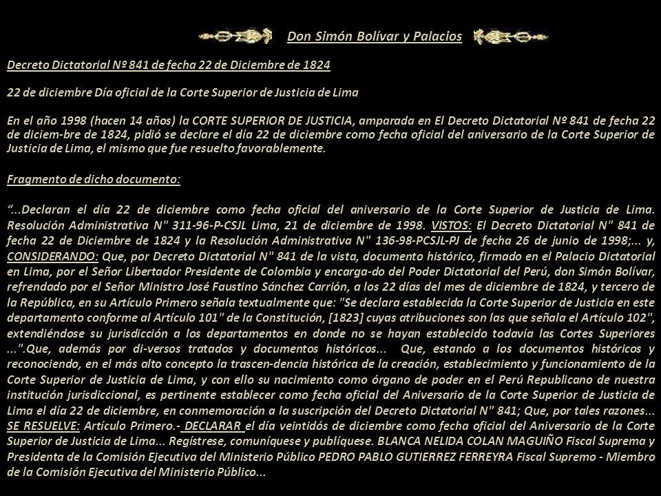 Decreto Dictatorial Nº 841 de fecha 22 de Diciembre de 1824