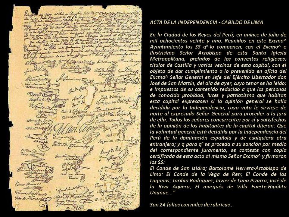 ACTA DE LA INDEPENDENCIA - CABILDO DE LIMA