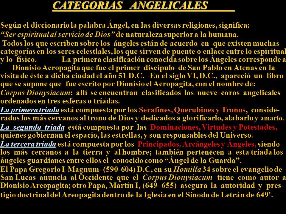 CATEGORIAS ANGELICALES