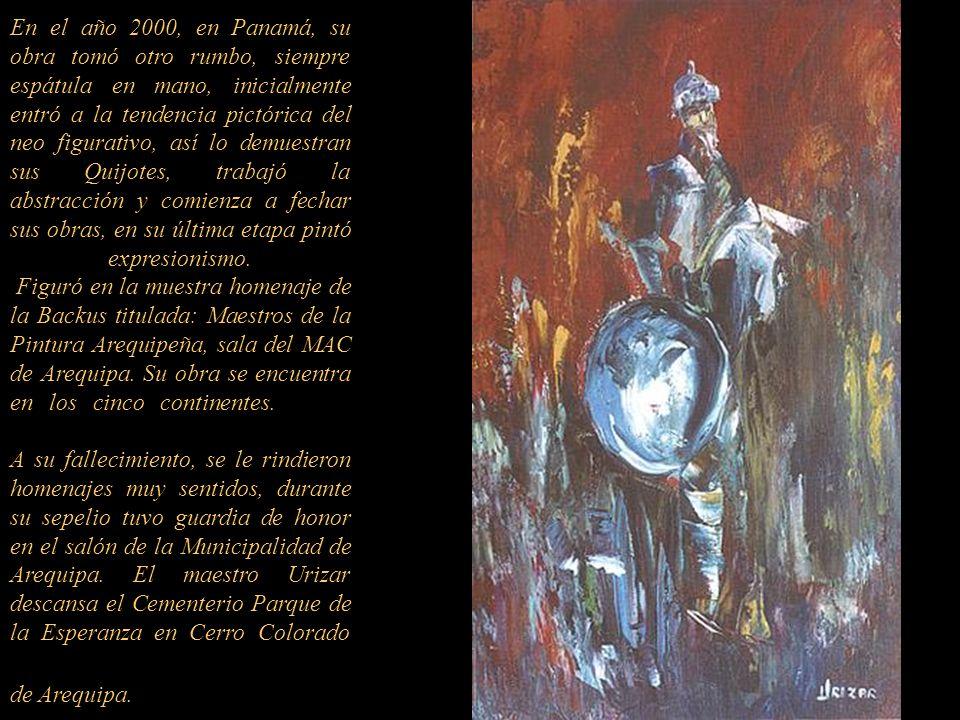 En el año 2000, en Panamá, su obra tomó otro rumbo, siempre espátula en mano, inicialmente entró a la tendencia pictórica del neo figurativo, así lo demuestran sus Quijotes, trabajó la abstracción y comienza a fechar sus obras, en su última etapa pintó expresionismo.