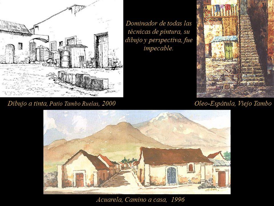 Dibujo a tinta, Patio Tambo Ruelas, 2000 Oleo-Espátula, Viejo Tambo