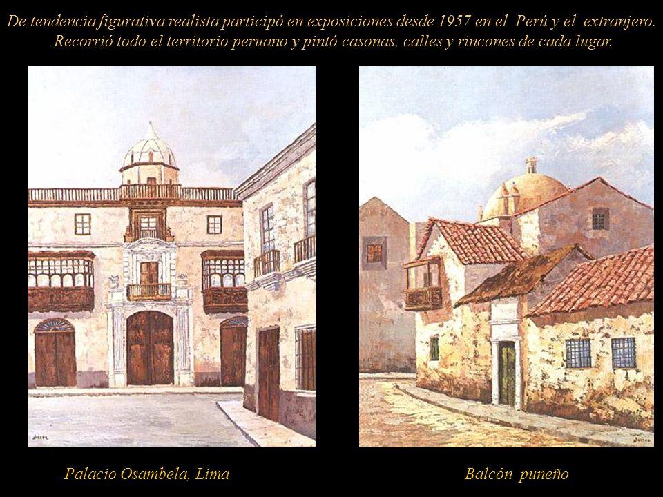 De tendencia figurativa realista participó en exposiciones desde 1957 en el Perú y el extranjero. Recorrió todo el territorio peruano y pintó casonas, calles y rincones de cada lugar.