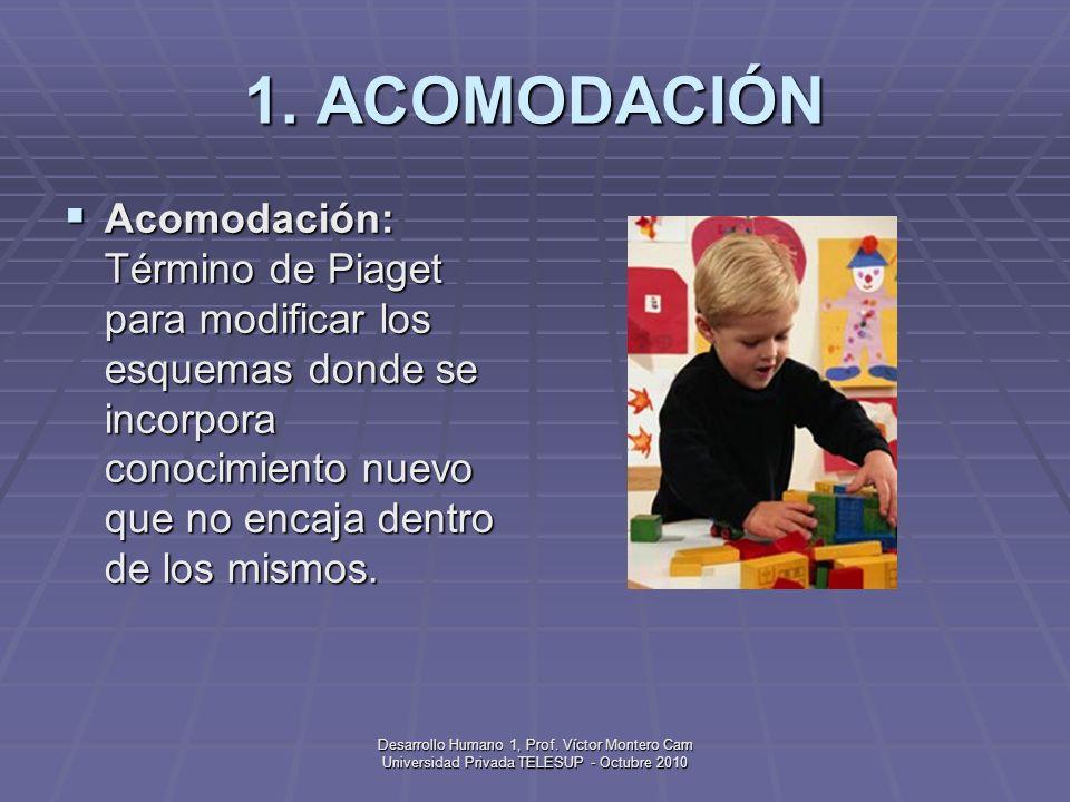 1. ACOMODACIÓN Acomodación: Término de Piaget para modificar los esquemas donde se incorpora conocimiento nuevo que no encaja dentro de los mismos.