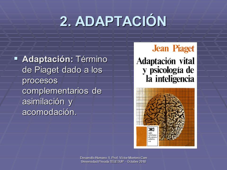 2. ADAPTACIÓN Adaptación: Término de Piaget dado a los procesos complementarios de asimilación y acomodación.